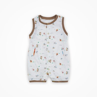 丑丑婴幼 婴儿前开连体哈衣爬服夏季新款男宝宝无袖背心哈衣爬服 CHE002T