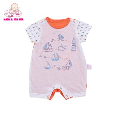 丑丑嬰幼 3個月-1歲半 男寶寶純棉新款夏裝連體哈衣爬服套裝