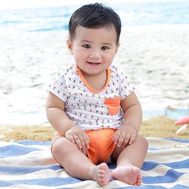 丑丑婴幼 夏季男宝宝卡通可爱针织短袖套装 男童纯棉圆领肩开短套装CHE737X