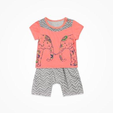 丑丑嬰幼男童短袖套裝夏季新款男寶寶時尚圓領套裝男童休閑短套裝