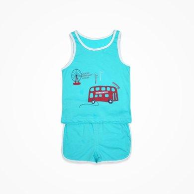 丑丑嬰幼男童背心套裝夏季新款男寶寶休閑時尚套裝男寶背心套裝CHE710T