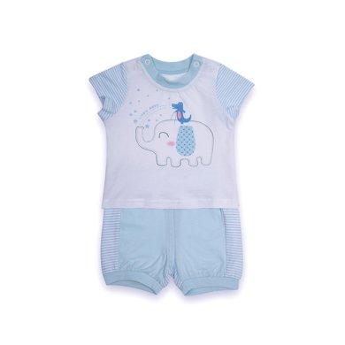 丑丑婴幼男童套装夏季新款男宝宝短袖针织套装男童圆领休闲短套装