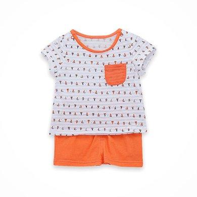 丑丑婴幼 男童纯棉针织短袖套装夏季新款男宝宝时?#24615;?#39046;短套装CHE737X