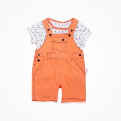 丑丑嬰幼 男童背帶褲套裝夏季男寶寶時尚背帶褲短套裝 CHE739X