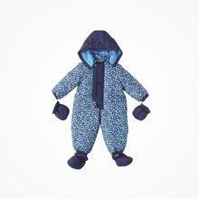 丑丑婴幼 冬季男宝宝带帽连体衣加厚保暖带手套脚套三件套装棉哈衣、爬服 CME047X