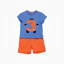 丑丑婴幼 男童针织短套装夏季新款男童休闲短袖套装数字图案套装