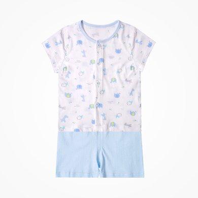 丑丑嬰幼 男女寶寶新款前開套裝嬰幼兒短袖家居服套裝 3個月-3歲CJD712X