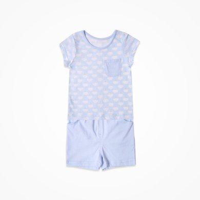丑丑嬰幼 夏季新款男寶寶肩開套裝純棉短袖家居服套裝 6個月-2歲CJD714X