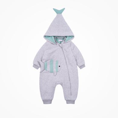 丑丑嬰幼 男寶寶卡通小魚棉哈衣冬季男童帶帽保暖棉哈衣、爬服、連體衣 CME024X