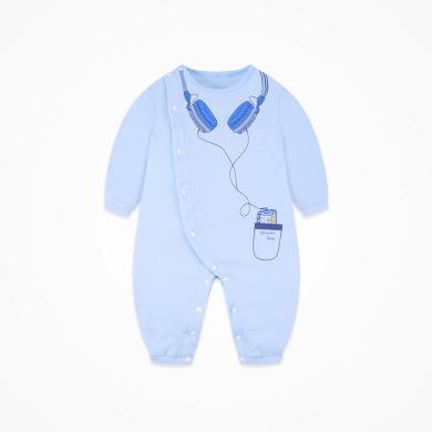 丑丑嬰幼 男寶寶卡通側開哈衣新款春秋純棉長袖哈衣、爬服、連體衣 CNE021X