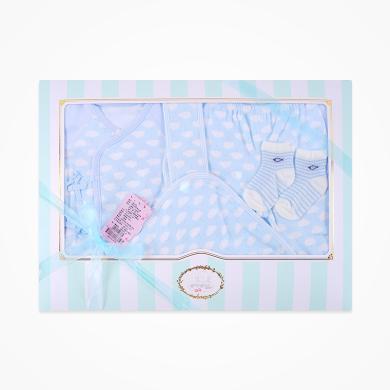 丑丑嬰幼 男女寶寶初生四件裝禮盒四季新生兒綁帶套裝、包被、襪子四件裝禮盒 CNF032L