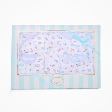 丑丑嬰幼 男寶寶滿月四季五件套禮盒嬰幼兒睡袋、哈衣、帽子+口水巾 精美禮盒 COF002L