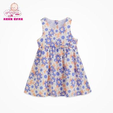 丑丑婴幼夏季新款女宝宝可爱圆领纯棉碎花条纹背心连衣裙 CFE359T