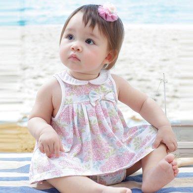 丑丑嬰幼 夏季女寶寶碎花公主連衣裙女童娃娃裙套裝
