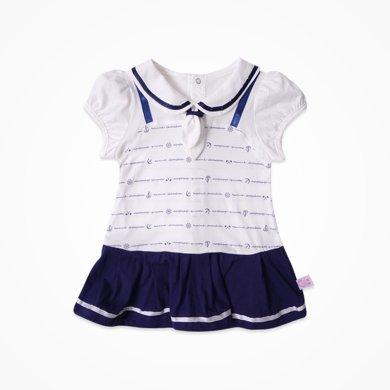 丑丑嬰幼 女寶寶短袖連衣裙夏季女童時尚海軍裙1-3歲 CJE355X