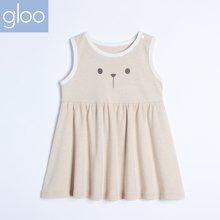 G100寄意百婴儿外出服上衣女宝宝有机竹棉韩版背心上衣小短裙GGS7101