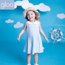 G100寄意百女童背心连衣裙夏款女童娃娃领连衣裙女宝宝夏季A字裙GGS6412