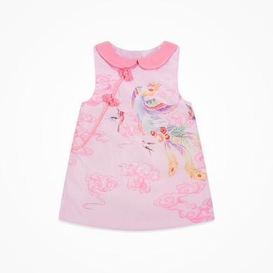 丑丑嬰幼 女寶寶民族風保暖連衣裙冬季女童百鳥朝鳳棉背心裙1歲半-5歲 CME360W