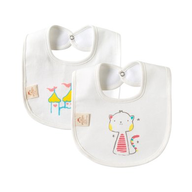 班杰威爾寶寶圍嘴純棉防水口水巾新生嬰兒童印花防吐奶全棉圍兜飯兜(2件裝)