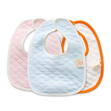 班杰威爾新生嬰兒寶寶圍嘴圍兜加厚雙層夾棉純棉寶寶口水巾按扣新生兒圍兜(3件裝)