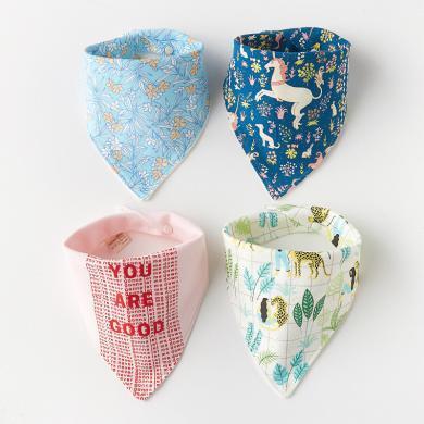 【4條裝】班杰威爾口水巾純棉嬰兒三角巾新生兒寶寶三角口水巾按扣兒童圍嘴