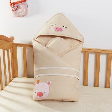 班杰威尔婴儿抱被春秋纯棉新生儿包被加厚保暖初生宝宝包巾用品外出襁褓包