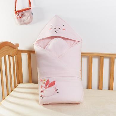 班杰威尔新生儿包被纯棉婴儿抱被春秋抱毯夹棉保暖被子襁褓包初生宝宝两用
