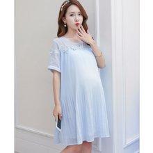 妃孕宝 夏季新款韩版大码短袖雪纺百褶孕妇连衣裙孕妇装