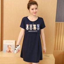 妃孕宝 夏季新款韩版时尚卡通印花孕妇哺乳连衣裙外出喂奶衣