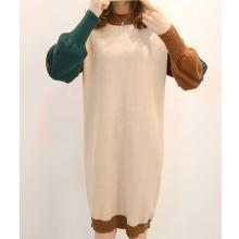 摩登孕妈 秋冬装新款孕妇装时尚圆领针织连衣裙毛衣撞色长袖连衣裙女
