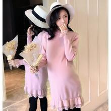 妃孕宝 秋冬装新款蕾丝拼接长袖孕妇裙中长款针织连衣裙女