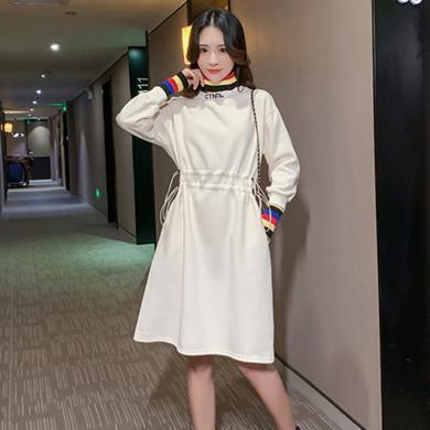摩登孕媽 孕婦裝冬季新款彩色高領衛衣裙寬松加厚連衣裙收腰系中長裙女