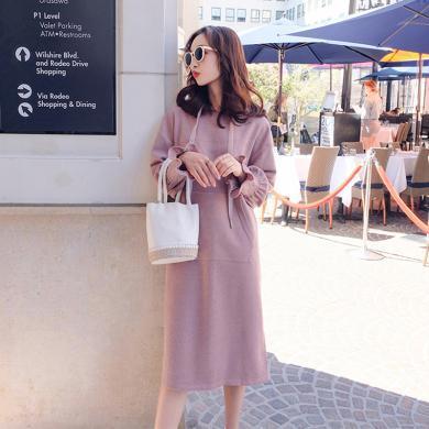 妃孕寶 春秋裝新款孕婦連衣裙過膝簡約時尚孕婦裙中長款長袖連帽衛衣裙