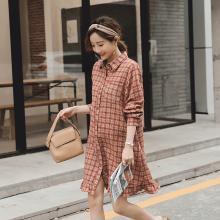 DOWISI实拍 2019孕妇春装格子衬衣 格子孕妇裙KXG987