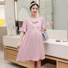 妃孕宝 哺乳装夏季新款时尚韩版宽松哺乳孕妇裙优雅修身哺乳连衣裙女