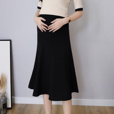 妃孕寶 孕婦中長裙夏季新款彈力高腰托腹裙純色百搭潮媽半身裙女