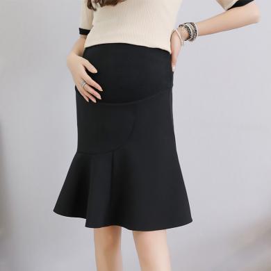 妃孕寶 孕婦半身裙夏季新款女裝彈力高腰托腹裙純色百搭荷葉邊中裙