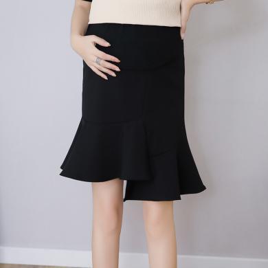 妃孕寶 孕婦半身裙女夏季新款彈力高腰托腹裙純色百搭不規則荷葉邊中裙