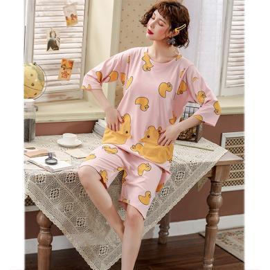妃孕寶 兩穿睡裙夏季新款女裝小黃鴨印花寬松連體褲孕產婦哺乳連衣裙