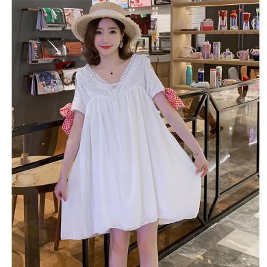 妃孕寶 孕婦裙夏季新款韓版性感V領露背流蘇鏤空露肩系帶雪紡連衣裙女