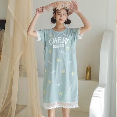 妃孕寶 孕婦睡衣產后月子服夏季新款鏤空露肩蕾絲拼接星星印花哺乳睡裙女