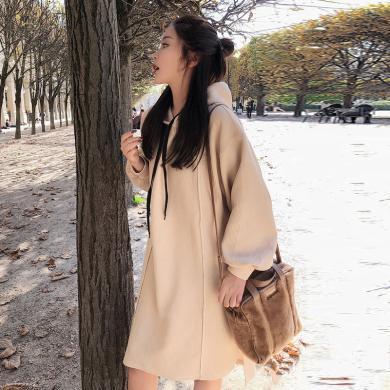 摩登孕妈 孕妇裙春秋季新款休闲简约时尚开衩宽松中长款卫衣连衣裙女