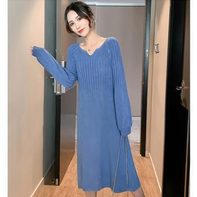 摩登孕妈 冬季新款女装时尚孕妇装宽松显瘦针织裙潮妈连衣裙中长款毛衣裙