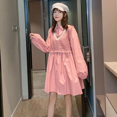 妃孕寶 小香風連衣裙秋季新款女裝寬松顯瘦孕婦裝中長款襯衫裙假兩件裙子
