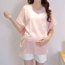 妃孕宝 夏季新款韩版孕妇蝙蝠短袖T恤宽松大码孕妇纯色孕妇装