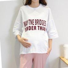 妃孕宝 夏季新款宽松圆领七分袖T恤字母图案孕妇上衣