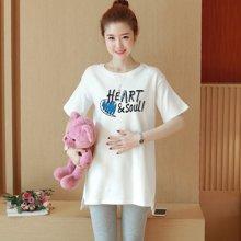 妃孕寶 夏季新款韓版個性字母圖案短袖中長款孕婦裝寬松T恤上衣