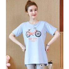 妃孕宝 夏季新款潮流自行车图案短袖孕妇T恤开叉孕妇装