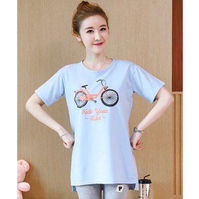 妃孕寶 夏季新款潮流自行車圖案短袖孕婦T恤開叉孕婦裝