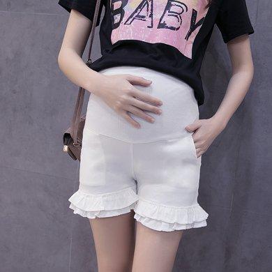 妃孕宝 夏季新款韩版木耳边高腰托腹弹力孕妇短裤修身显瘦孕妇裤